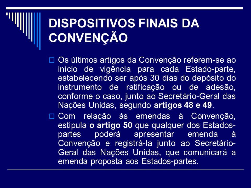 DISPOSITIVOS FINAIS DA CONVENÇÃO Os últimos artigos da Convenção referem-se ao início de vigência para cada Estado-parte, estabelecendo ser após 30 di