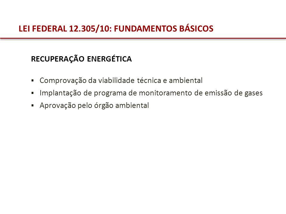 LEI FEDERAL 12.305/10: FUNDAMENTOS BÁSICOS Comprovação da viabilidade técnica e ambiental Implantação de programa de monitoramento de emissão de gases