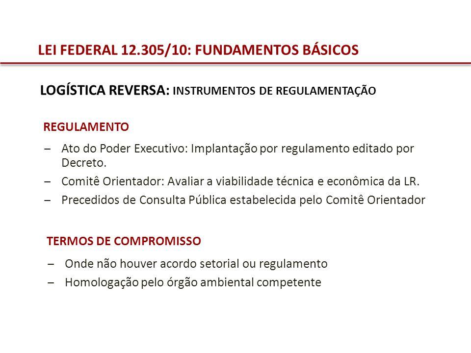 LEI FEDERAL 12.305/10: FUNDAMENTOS BÁSICOS REGULAMENTO Ato do Poder Executivo: Implantação por regulamento editado por Decreto. Comitê Orientador: Ava