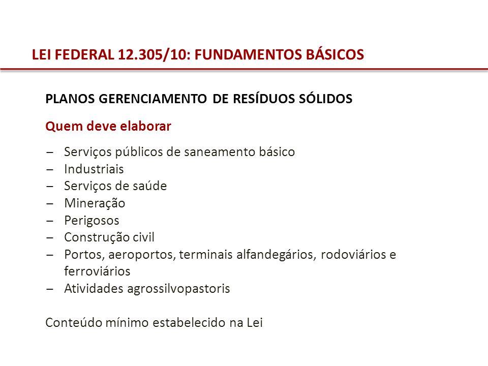 LEI FEDERAL 12.305/10: FUNDAMENTOS BÁSICOS PLANOS GERENCIAMENTO DE RESÍDUOS SÓLIDOS Quem deve elaborar Serviços públicos de saneamento básico Industri