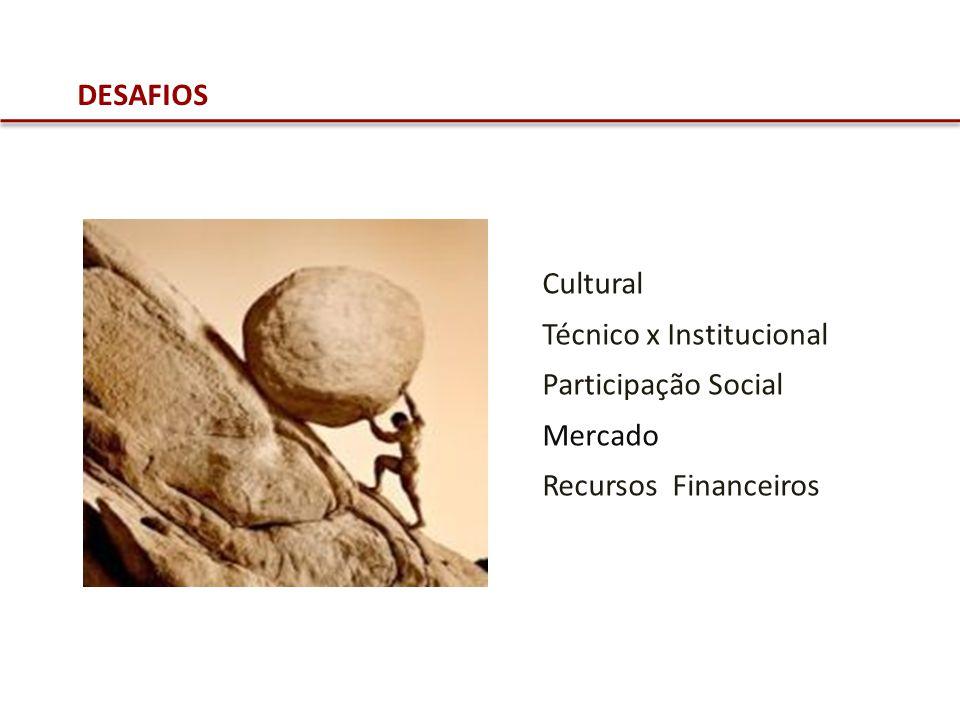 DESAFIOS Cultural Técnico x Institucional Participação Social Mercado Recursos Financeiros