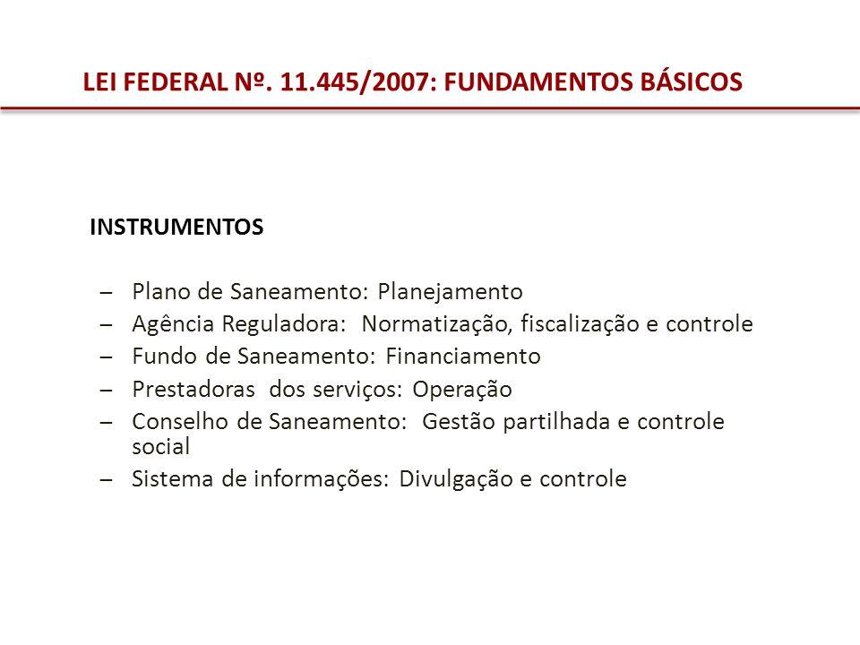 INSTRUMENTOS Plano de Saneamento: Planejamento Agência Reguladora: Normatização, fiscalização e controle Fundo de Saneamento: Financiamento Prestadora