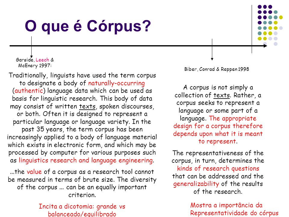 O que é Córpus? Garside, Leech & McEnery 1997: Traditionally, linguists have used the term corpus to designate a body of naturally-occurring (authenti