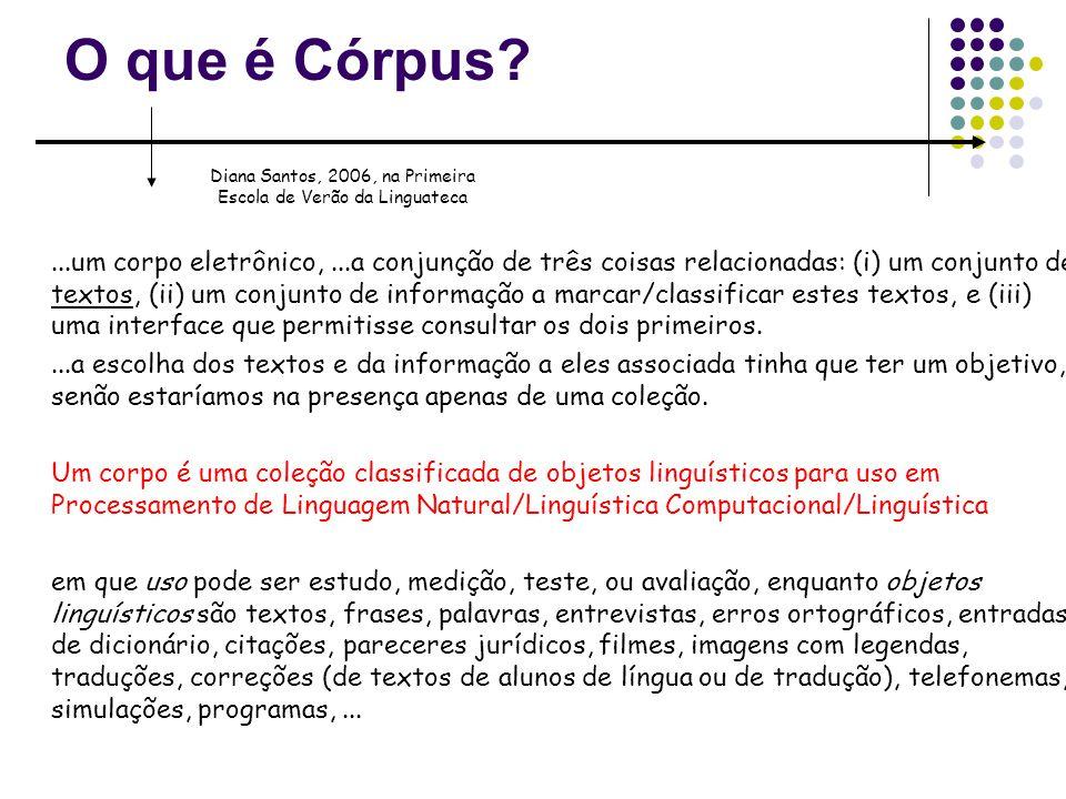 O que é Córpus?...um corpo eletrônico,...a conjunção de três coisas relacionadas: (i) um conjunto de textos, (ii) um conjunto de informação a marcar/c