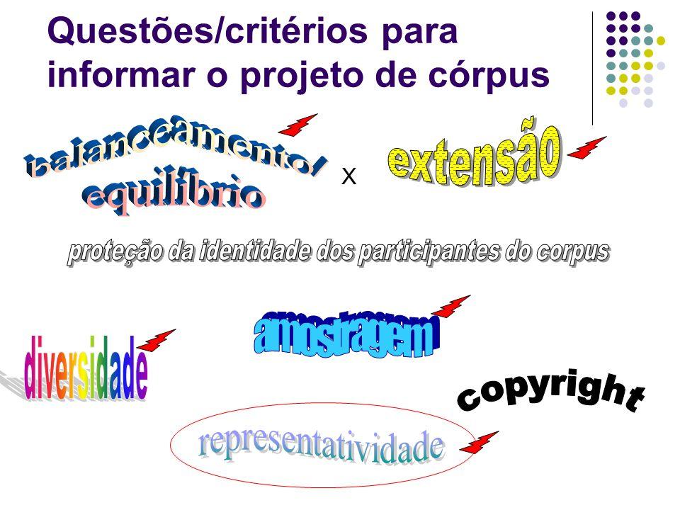Questões/critérios para informar o projeto de córpus X