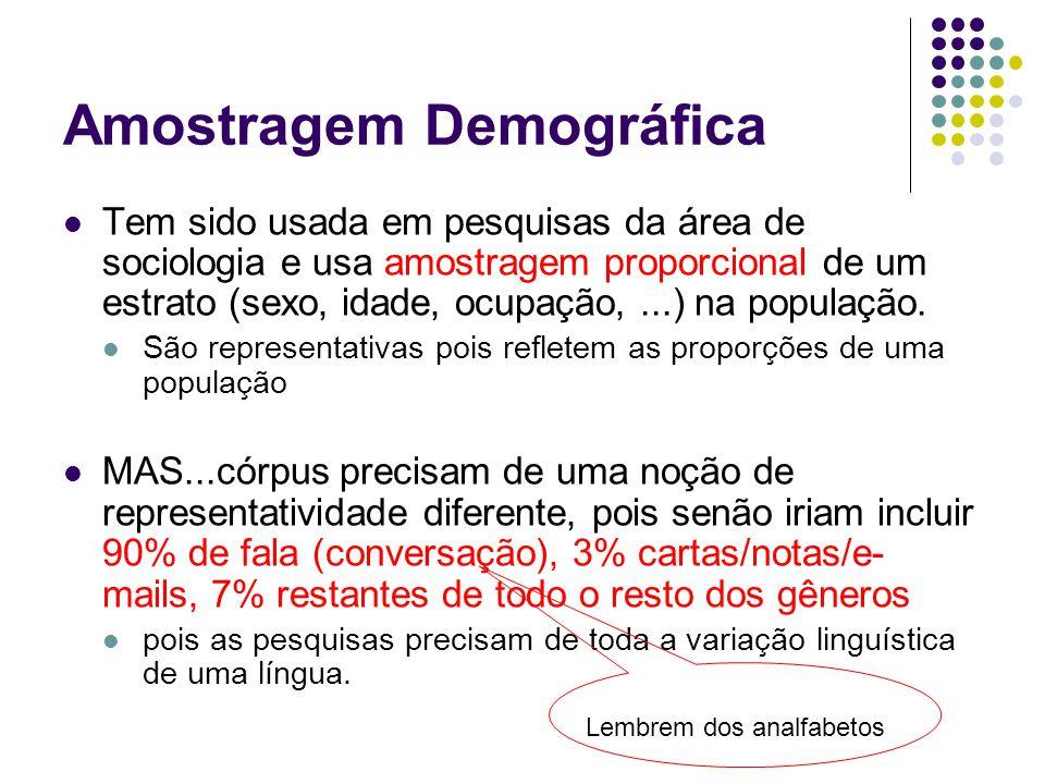 Amostragem Demográfica Tem sido usada em pesquisas da área de sociologia e usa amostragem proporcional de um estrato (sexo, idade, ocupação,...) na população.
