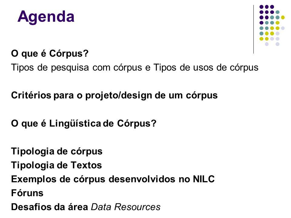 Agenda O que é Córpus? Tipos de pesquisa com córpus e Tipos de usos de córpus Critérios para o projeto/design de um córpus O que é Lingüística de Córp