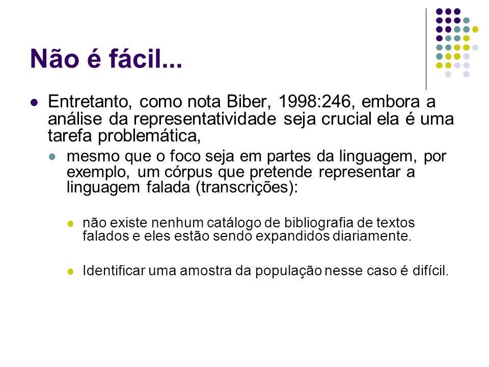Não é fácil... Entretanto, como nota Biber, 1998:246, embora a análise da representatividade seja crucial ela é uma tarefa problemática, mesmo que o f