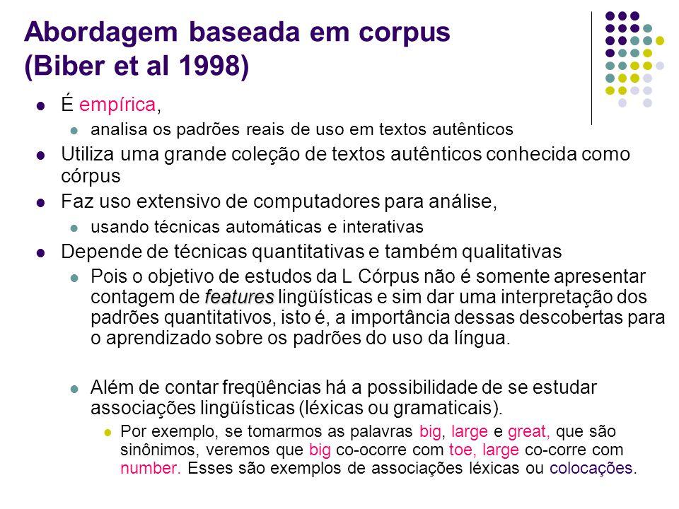 Abordagem baseada em corpus (Biber et al 1998) É empírica, analisa os padrões reais de uso em textos autênticos Utiliza uma grande coleção de textos a