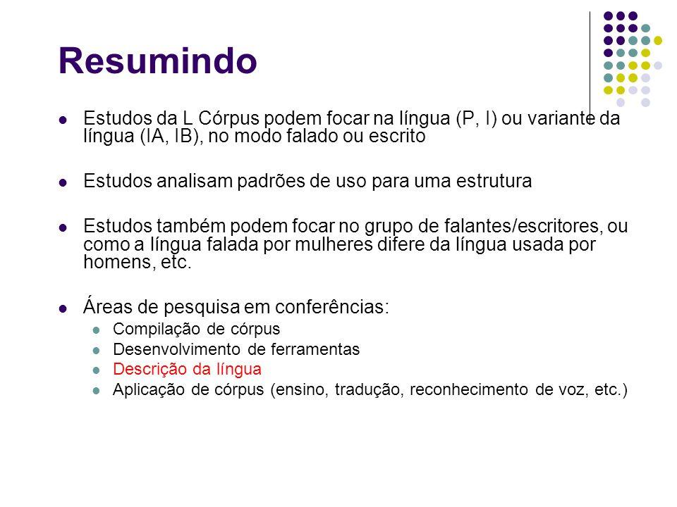 Resumindo Estudos da L Córpus podem focar na língua (P, I) ou variante da língua (IA, IB), no modo falado ou escrito Estudos analisam padrões de uso p