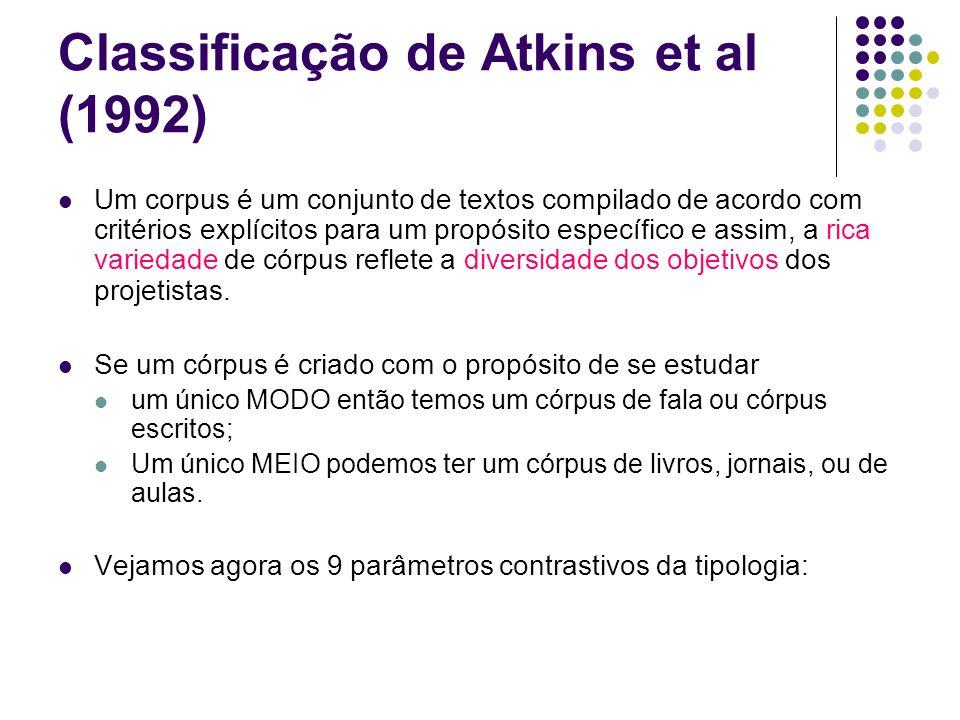 Classificação de Atkins et al (1992) Um corpus é um conjunto de textos compilado de acordo com critérios explícitos para um propósito específico e assim, a rica variedade de córpus reflete a diversidade dos objetivos dos projetistas.