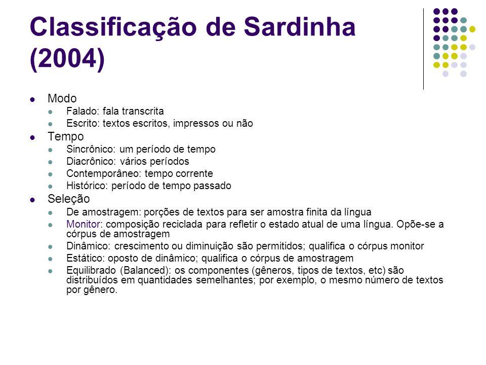 Classificação de Sardinha (2004) Modo Falado: fala transcrita Escrito: textos escritos, impressos ou não Tempo Sincrônico: um período de tempo Diacrôn