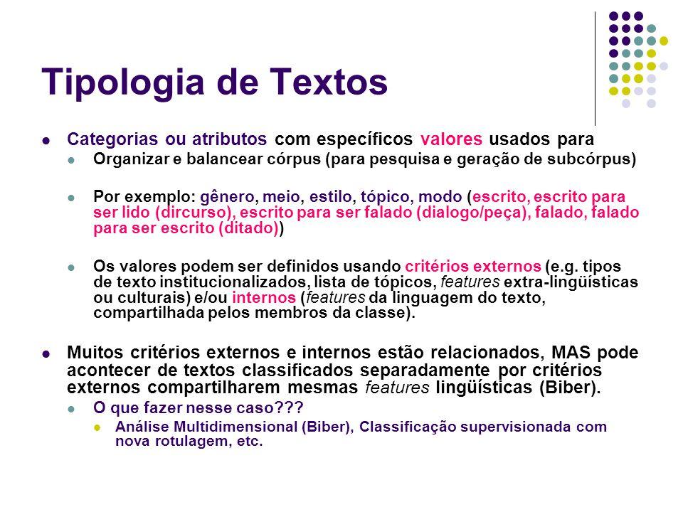 Tipologia de Textos Categorias ou atributos com específicos valores usados para Organizar e balancear córpus (para pesquisa e geração de subcórpus) Por exemplo: gênero, meio, estilo, tópico, modo (escrito, escrito para ser lido (dircurso), escrito para ser falado (dialogo/peça), falado, falado para ser escrito (ditado)) Os valores podem ser definidos usando critérios externos (e.g.