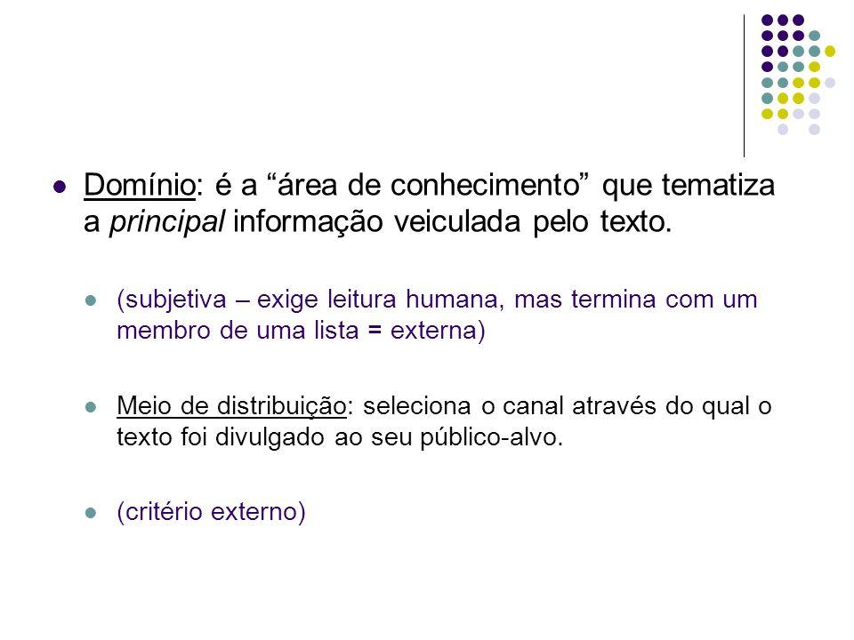 Domínio: é a área de conhecimento que tematiza a principal informação veiculada pelo texto. (subjetiva – exige leitura humana, mas termina com um memb