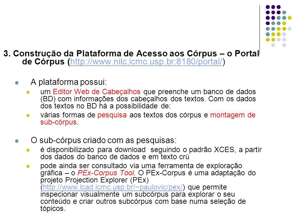3. Construção da Plataforma de Acesso aos Córpus – o Portal de Córpus (http://www.nilc.icmc.usp.br:8180/portal/)http://www.nilc.icmc.usp.br:8180/porta