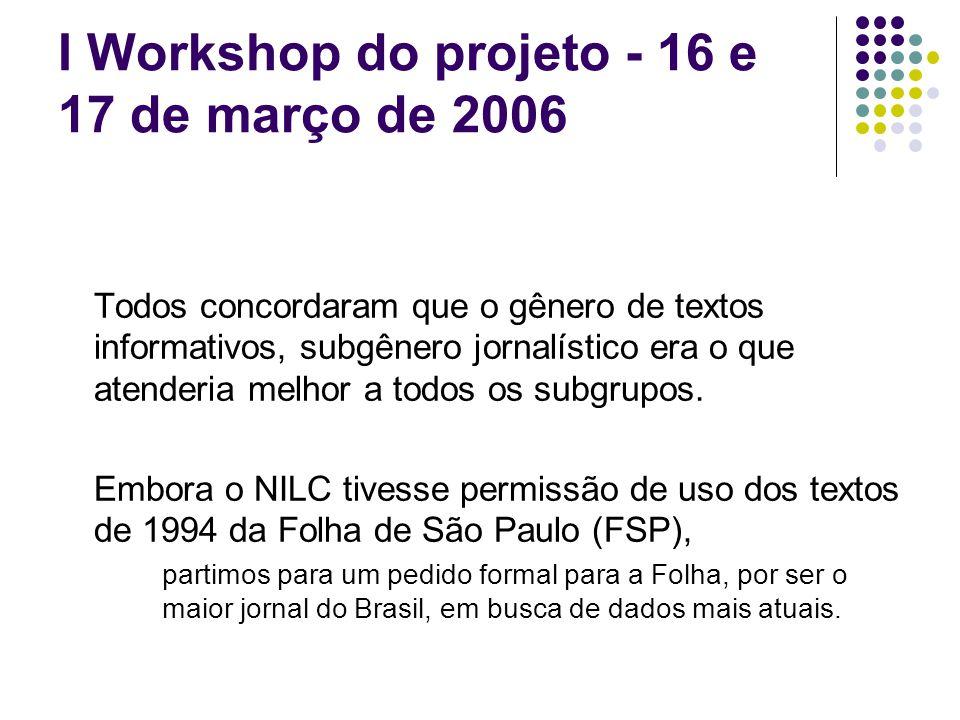 I Workshop do projeto - 16 e 17 de março de 2006 Todos concordaram que o gênero de textos informativos, subgênero jornalístico era o que atenderia melhor a todos os subgrupos.