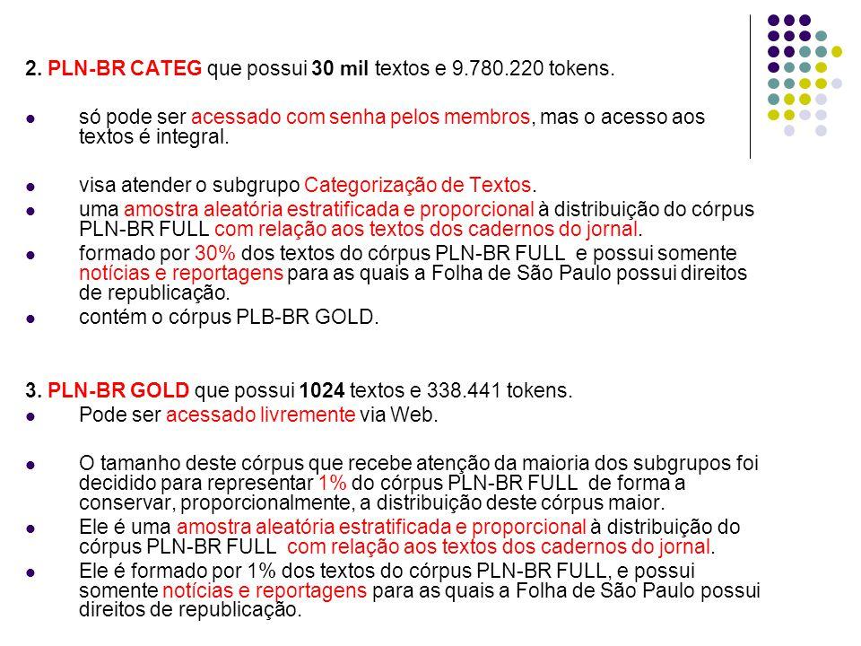 2.PLN-BR CATEG que possui 30 mil textos e 9.780.220 tokens.