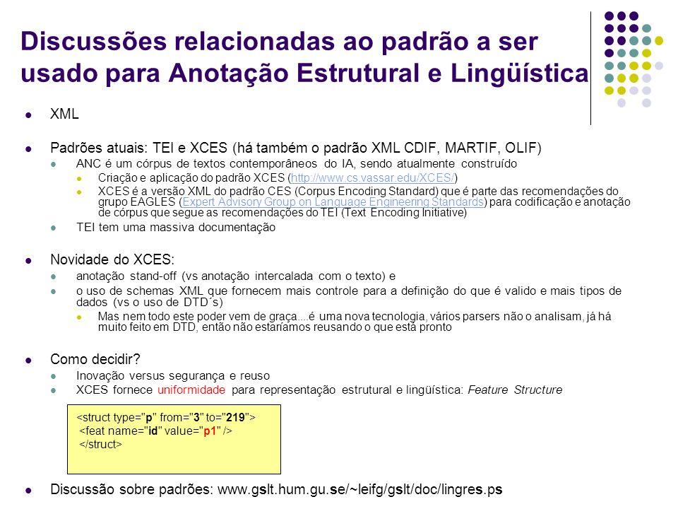 Discussões relacionadas ao padrão a ser usado para Anotação Estrutural e Lingüística XML Padrões atuais: TEI e XCES (há também o padrão XML CDIF, MARTIF, OLIF) ANC é um córpus de textos contemporâneos do IA, sendo atualmente construído Criação e aplicação do padrão XCES (http://www.cs.vassar.edu/XCES/)http://www.cs.vassar.edu/XCES/ XCES é a versão XML do padrão CES (Corpus Encoding Standard) que é parte das recomendações do grupo EAGLES (Expert Advisory Group on Language Engineering Standards) para codificação e anotação de córpus que segue as recomendações do TEI (Text Encoding Initiative)Expert Advisory Group on Language Engineering Standards TEI tem uma massiva documentação Novidade do XCES: anotação stand-off (vs anotação intercalada com o texto) e o uso de schemas XML que fornecem mais controle para a definição do que é valido e mais tipos de dados (vs o uso de DTD´s) Mas nem todo este poder vem de graça....é uma nova tecnologia, vários parsers não o analisam, já há muito feito em DTD, então não estaríamos reusando o que está pronto Como decidir.