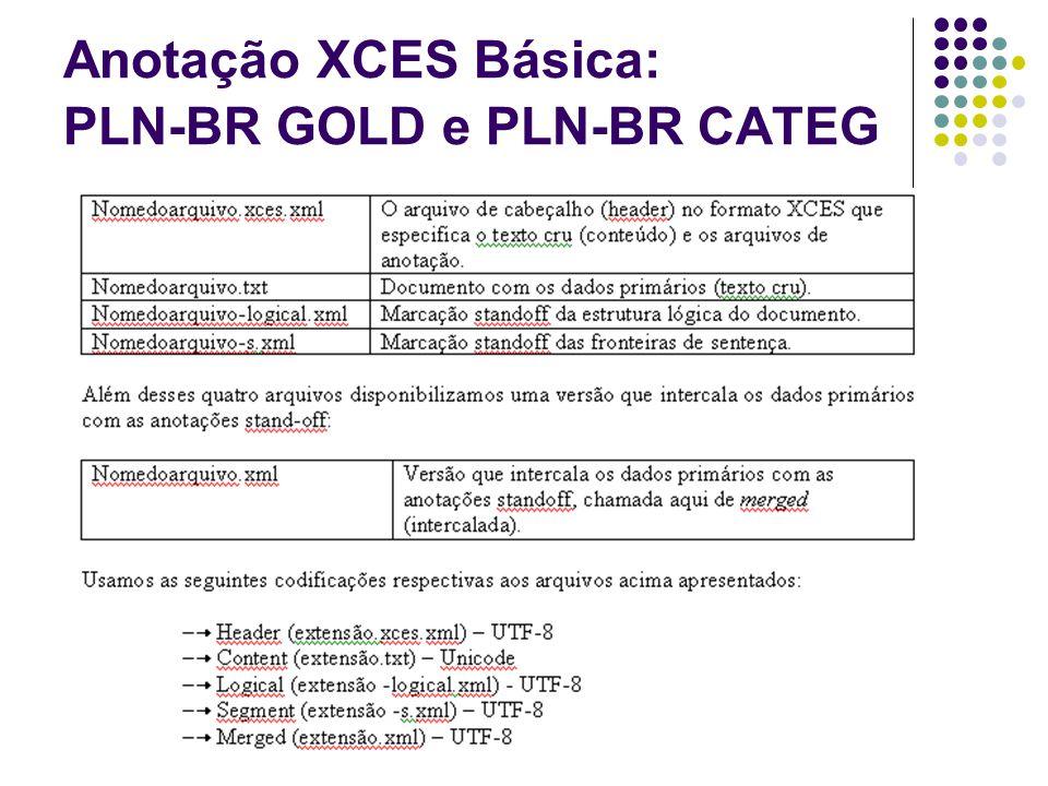 Anotação XCES Básica: PLN-BR GOLD e PLN-BR CATEG