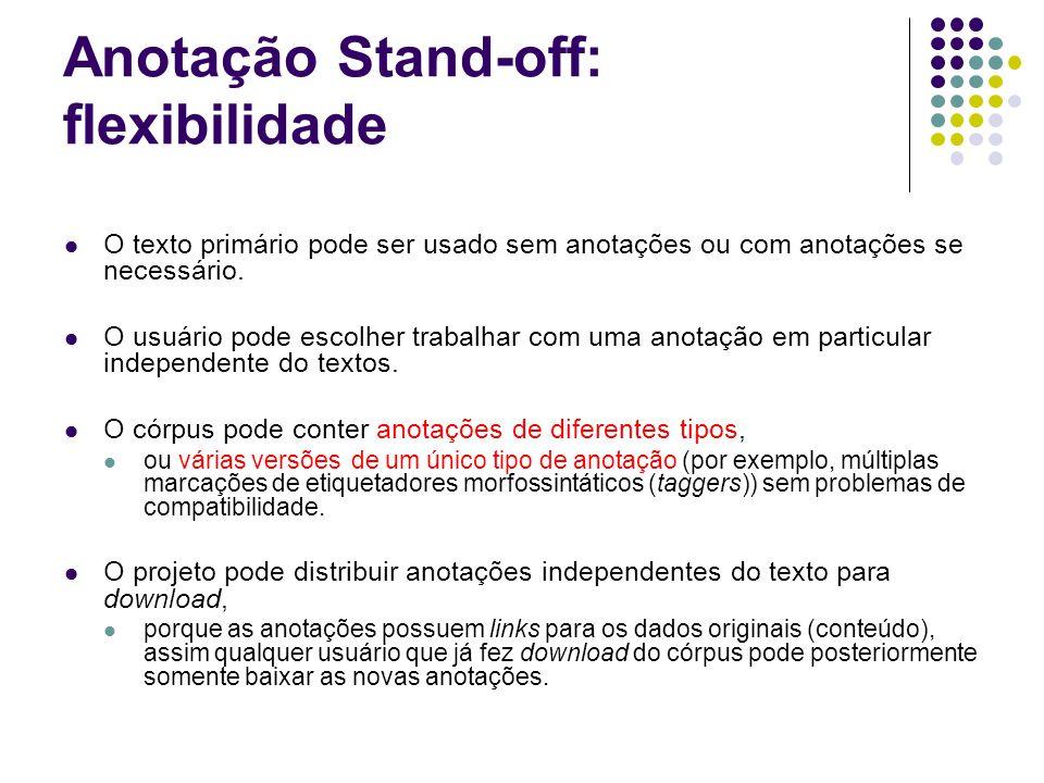 Anotação Stand-off: flexibilidade O texto primário pode ser usado sem anotações ou com anotações se necessário.