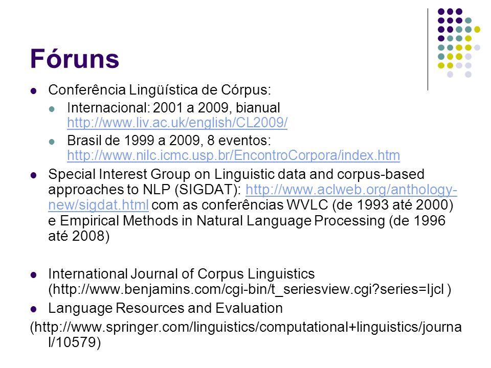 Fóruns Conferência Lingüística de Córpus: Internacional: 2001 a 2009, bianual http://www.liv.ac.uk/english/CL2009/ http://www.liv.ac.uk/english/CL2009/ Brasil de 1999 a 2009, 8 eventos: http://www.nilc.icmc.usp.br/EncontroCorpora/index.htm http://www.nilc.icmc.usp.br/EncontroCorpora/index.htm Special Interest Group on Linguistic data and corpus-based approaches to NLP (SIGDAT): http://www.aclweb.org/anthology- new/sigdat.html com as conferências WVLC (de 1993 até 2000) e Empirical Methods in Natural Language Processing (de 1996 até 2008)http://www.aclweb.org/anthology- new/sigdat.html International Journal of Corpus Linguistics (http://www.benjamins.com/cgi-bin/t_seriesview.cgi?series=Ijcl ) Language Resources and Evaluation (http://www.springer.com/linguistics/computational+linguistics/journa l/10579)