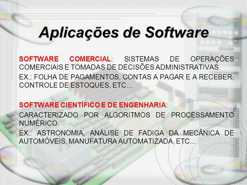Aplicações de Software SOFTWARE COMERCIAL: SISTEMAS DE OPERAÇÕES COMERCIAIS E TOMADAS DE DECISÕES ADMINISTRATIVAS. EX.: FOLHA DE PAGAMENTOS, CONTAS A