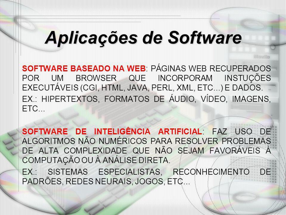 Aplicações de Software SOFTWARE BASEADO NA WEB: PÁGINAS WEB RECUPERADOS POR UM BROWSER QUE INCORPORAM INSTUÇÕES EXECUTÁVEIS (CGI, HTML, JAVA, PERL, XM
