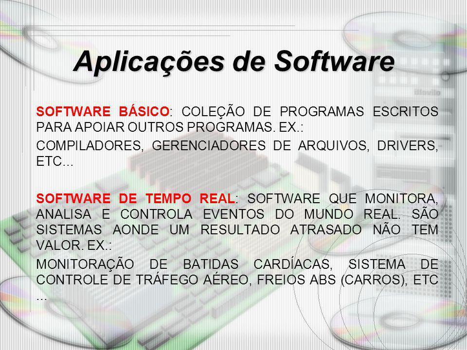 Aplicações de Software SOFTWARE BÁSICO: COLEÇÃO DE PROGRAMAS ESCRITOS PARA APOIAR OUTROS PROGRAMAS. EX.: COMPILADORES, GERENCIADORES DE ARQUIVOS, DRIV