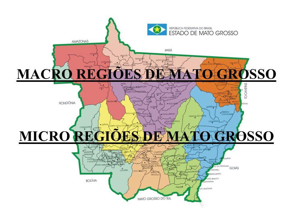 MACRO REGIÕES DE MATO GROSSO MICRO REGIÕES DE MATO GROSSO