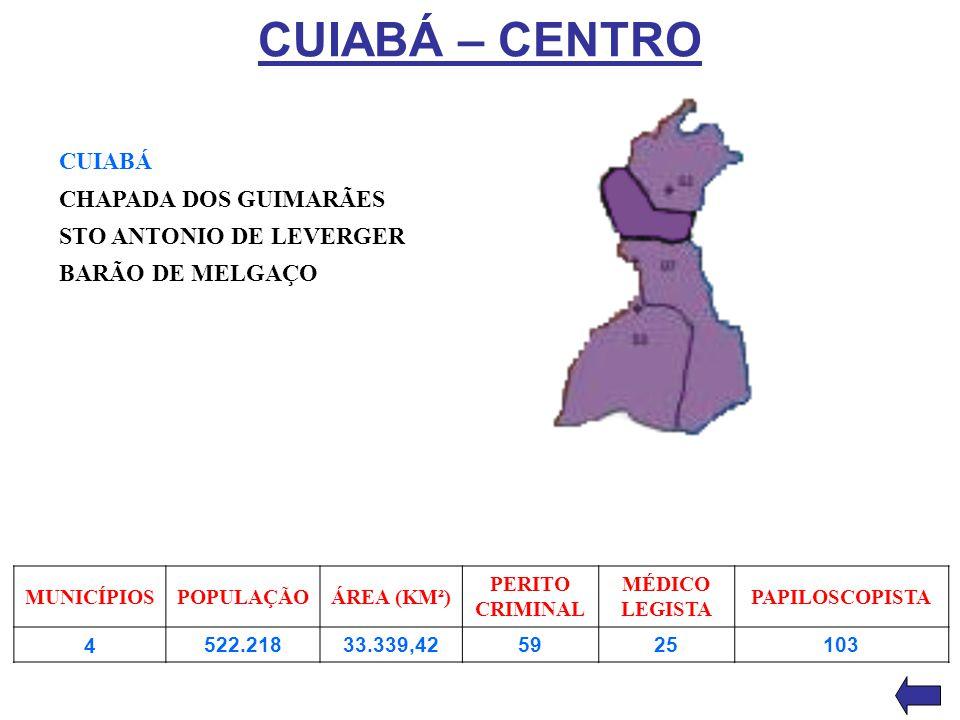 CUIABÁ – CENTRO CUIABÁ CHAPADA DOS GUIMARÃES STO ANTONIO DE LEVERGER BARÃO DE MELGAÇO MUNICÍPIOSPOPULAÇÃOÁREA (KM²) PERITO CRIMINAL MÉDICO LEGISTA PAP