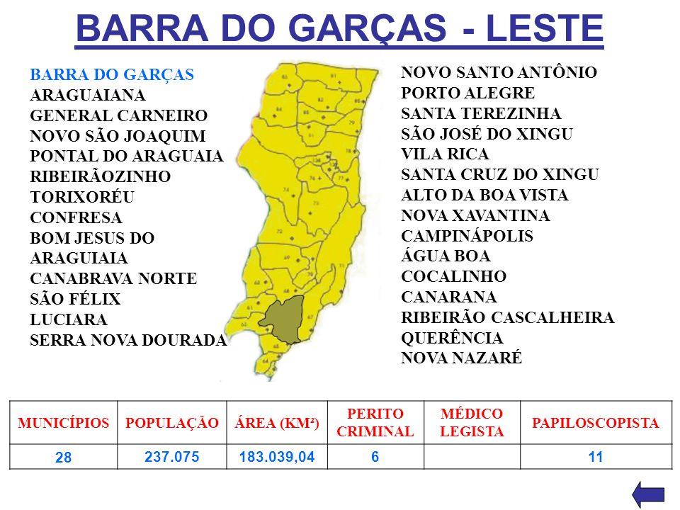 BARRA DO GARÇAS - LESTE BARRA DO GARÇAS ARAGUAIANA GENERAL CARNEIRO NOVO SÃO JOAQUIM PONTAL DO ARAGUAIA RIBEIRÃOZINHO TORIXORÉU CONFRESA BOM JESUS DO
