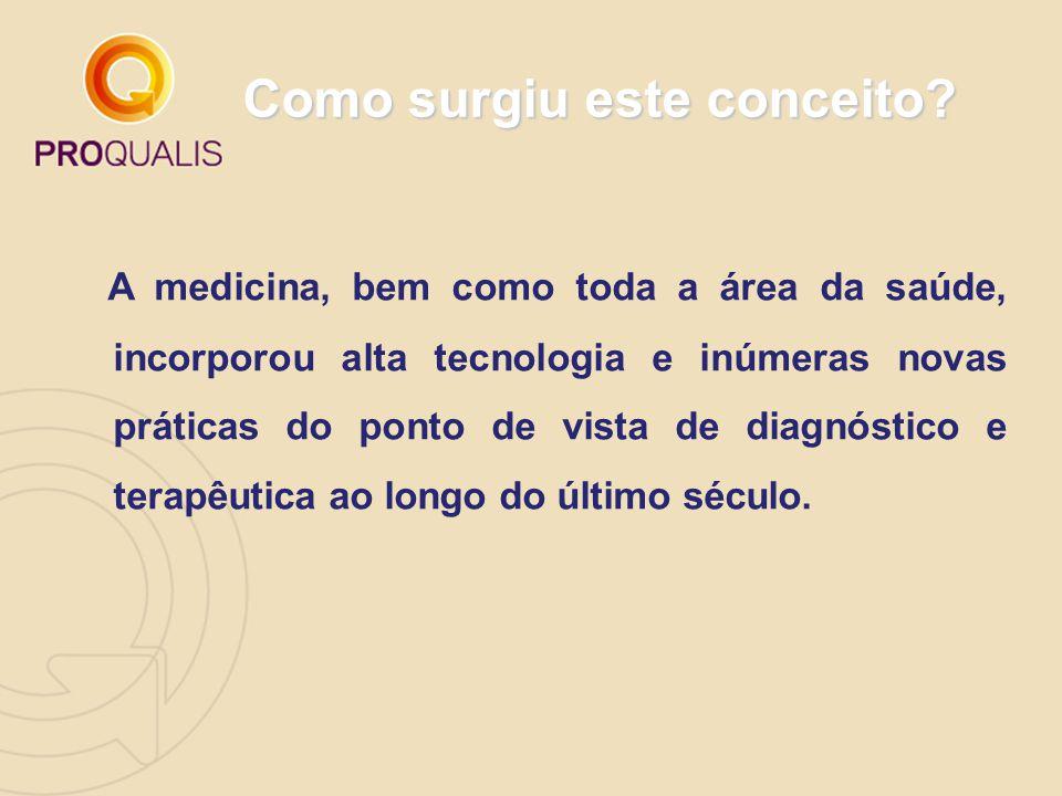 Como surgiu este conceito? A medicina, bem como toda a área da saúde, incorporou alta tecnologia e inúmeras novas práticas do ponto de vista de diagnó