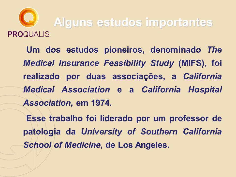 Alguns estudos importantes Um dos estudos pioneiros, denominado The Medical Insurance Feasibility Study (MIFS), foi realizado por duas associações, a California Medical Association e a California Hospital Association, em 1974.
