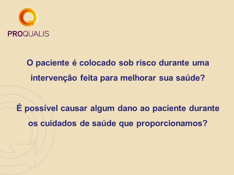 Estudo no Brasil Um estudo brasileiro realizado em hospitais no estado do Rio de Janeiro observou que em 7,6% das internações ocorreram eventos adversos, um valor muito próximo ao encontrado em trabalhos no exterior.