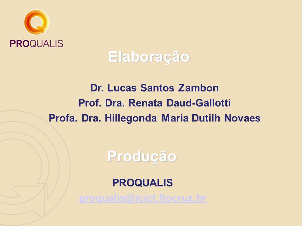 Dr. Lucas Santos Zambon Prof. Dra. Renata Daud-Gallotti Profa. Dra. Hillegonda Maria Dutilh Novaes Elaboração Produção PROQUALIS proqualis@icict.fiocr
