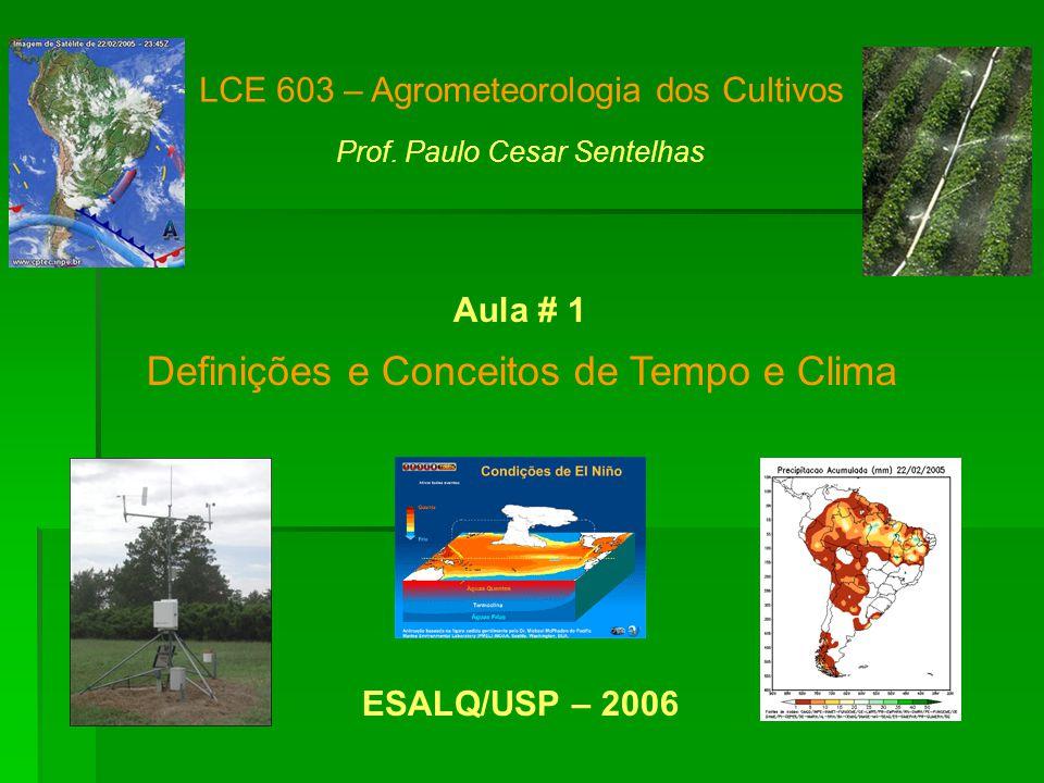 Definições e Conceitos de Tempo e Clima LCE 603 – Agrometeorologia dos Cultivos Prof.