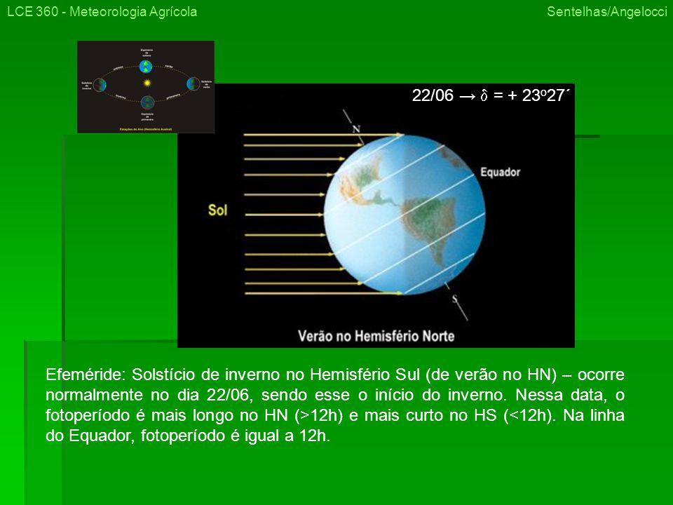 LCE 360 - Meteorologia Agrícola Sentelhas/Angelocci Efeméride: Solstício de inverno no Hemisfério Sul (de verão no HN) – ocorre normalmente no dia 22/06, sendo esse o início do inverno.