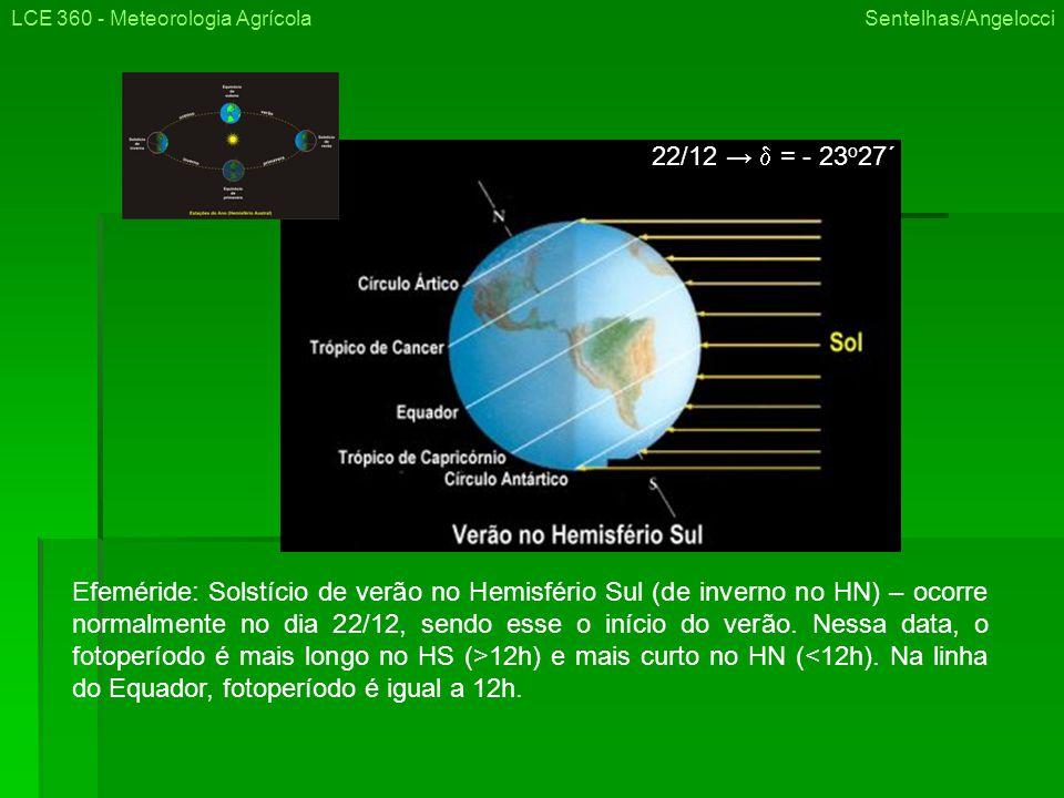 LCE 360 - Meteorologia Agrícola Sentelhas/Angelocci Efeméride: Solstício de verão no Hemisfério Sul (de inverno no HN) – ocorre normalmente no dia 22/12, sendo esse o início do verão.