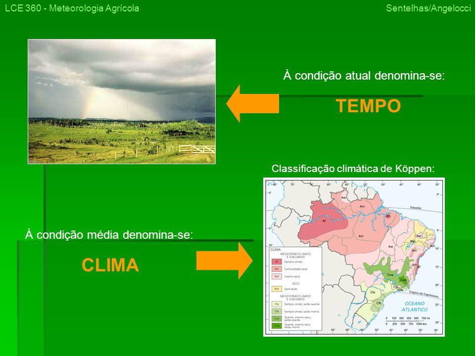 À condição atual denomina-se: TEMPO À condição média denomina-se: CLIMA LCE 360 - Meteorologia Agrícola Sentelhas/Angelocci Classificação climática de Köppen: