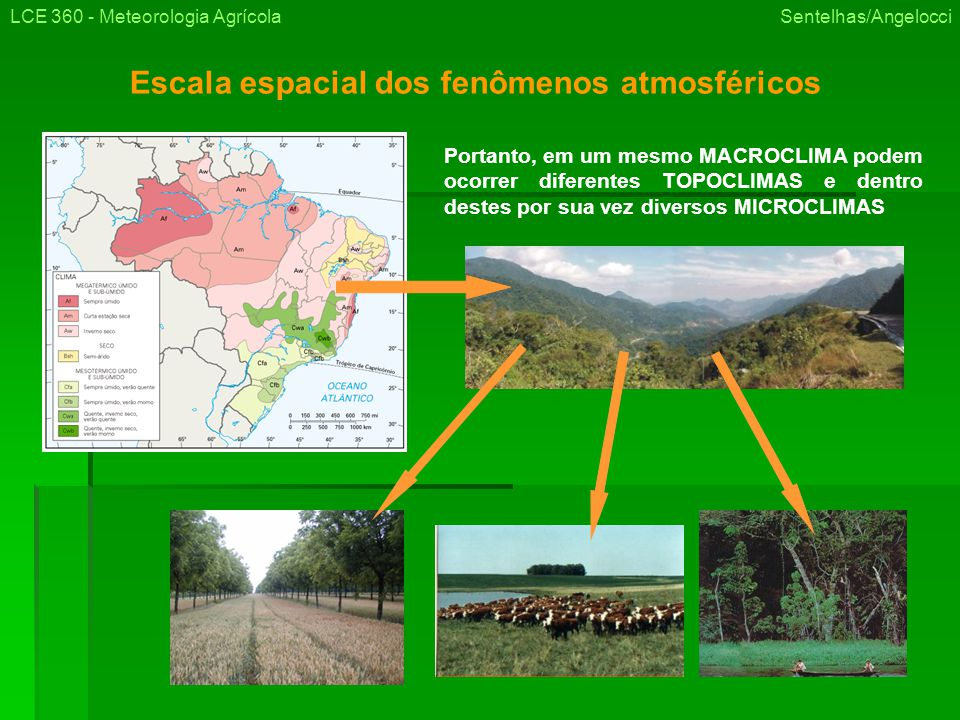 Escala espacial dos fenômenos atmosféricos LCE 360 - Meteorologia Agrícola Sentelhas/Angelocci Portanto, em um mesmo MACROCLIMA podem ocorrer diferentes TOPOCLIMAS e dentro destes por sua vez diversos MICROCLIMAS