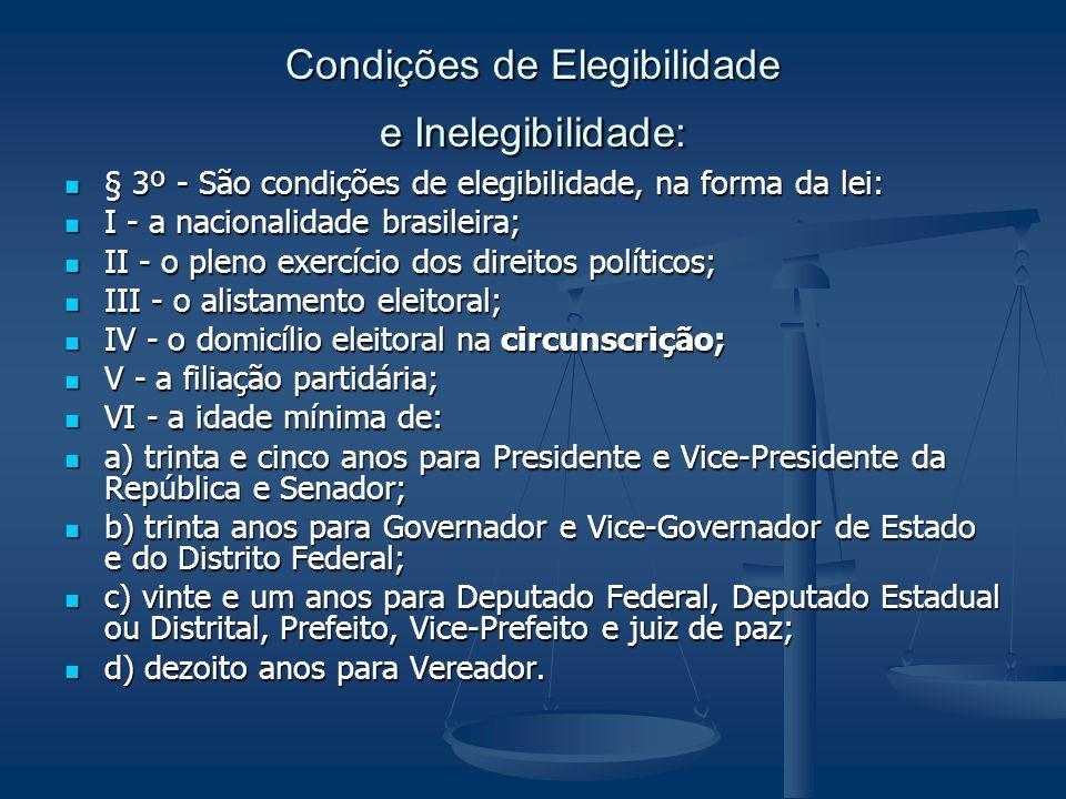 Condições de Elegibilidade e Inelegibilidade: § 3º - São condições de elegibilidade, na forma da lei: § 3º - São condições de elegibilidade, na forma