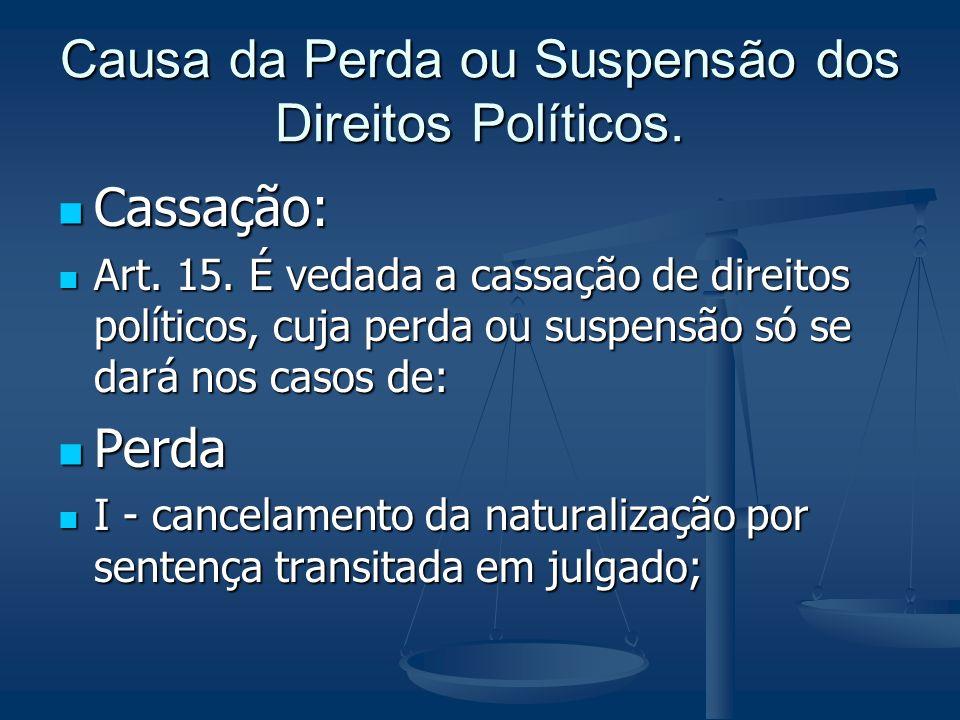 Causa da Perda ou Suspensão dos Direitos Políticos. Cassação: Cassação: Art. 15. É vedada a cassação de direitos políticos, cuja perda ou suspensão só