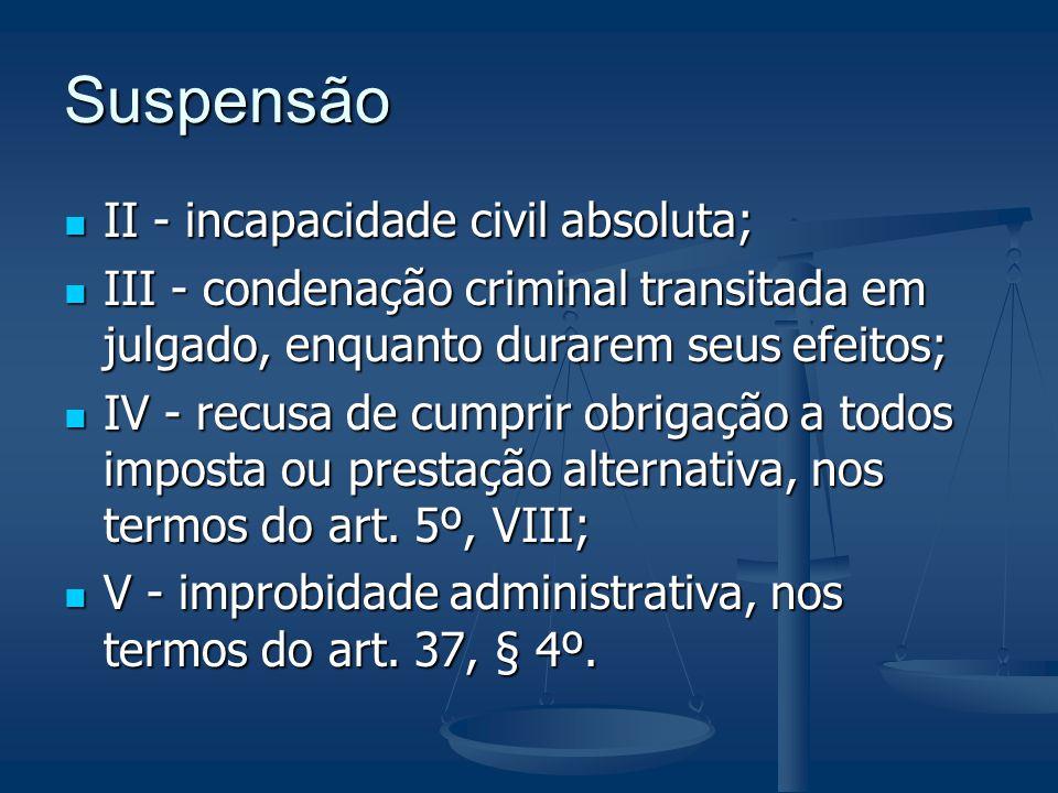 Suspensão II - incapacidade civil absoluta; II - incapacidade civil absoluta; III - condenação criminal transitada em julgado, enquanto durarem seus e