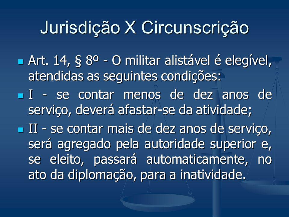 Jurisdição X Circunscrição Art. 14, § 8º - O militar alistável é elegível, atendidas as seguintes condições: Art. 14, § 8º - O militar alistável é ele
