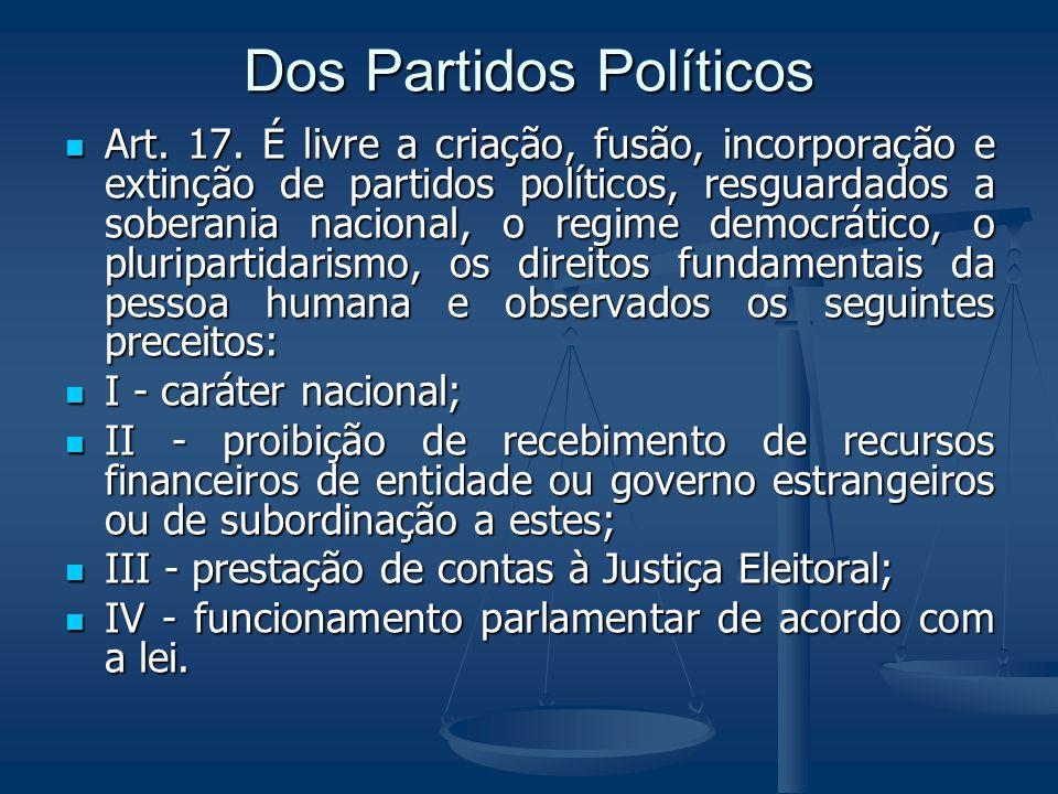 Dos Partidos Políticos Art. 17. É livre a criação, fusão, incorporação e extinção de partidos políticos, resguardados a soberania nacional, o regime d
