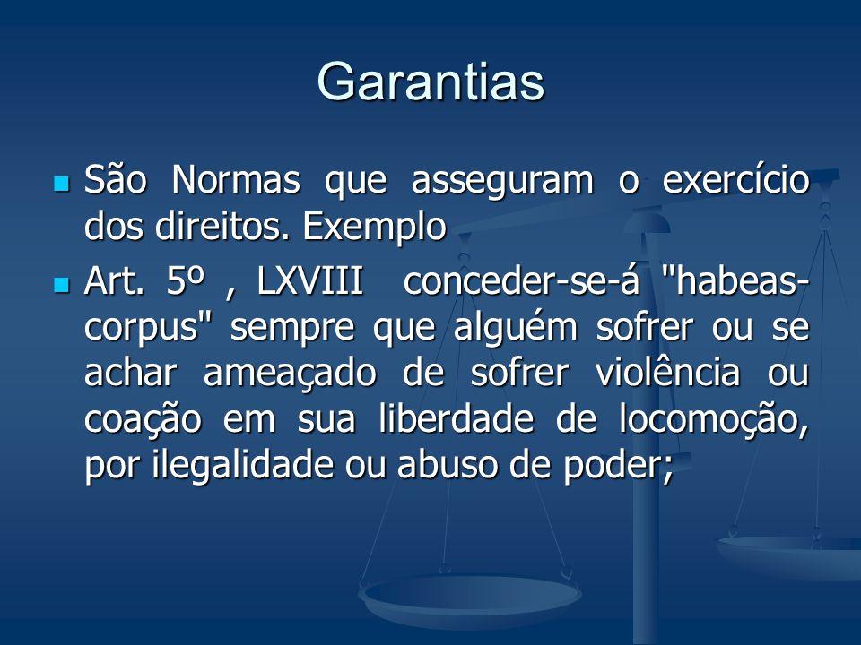 Garantias São Normas que asseguram o exercício dos direitos. Exemplo São Normas que asseguram o exercício dos direitos. Exemplo Art. 5º, LXVIII conced