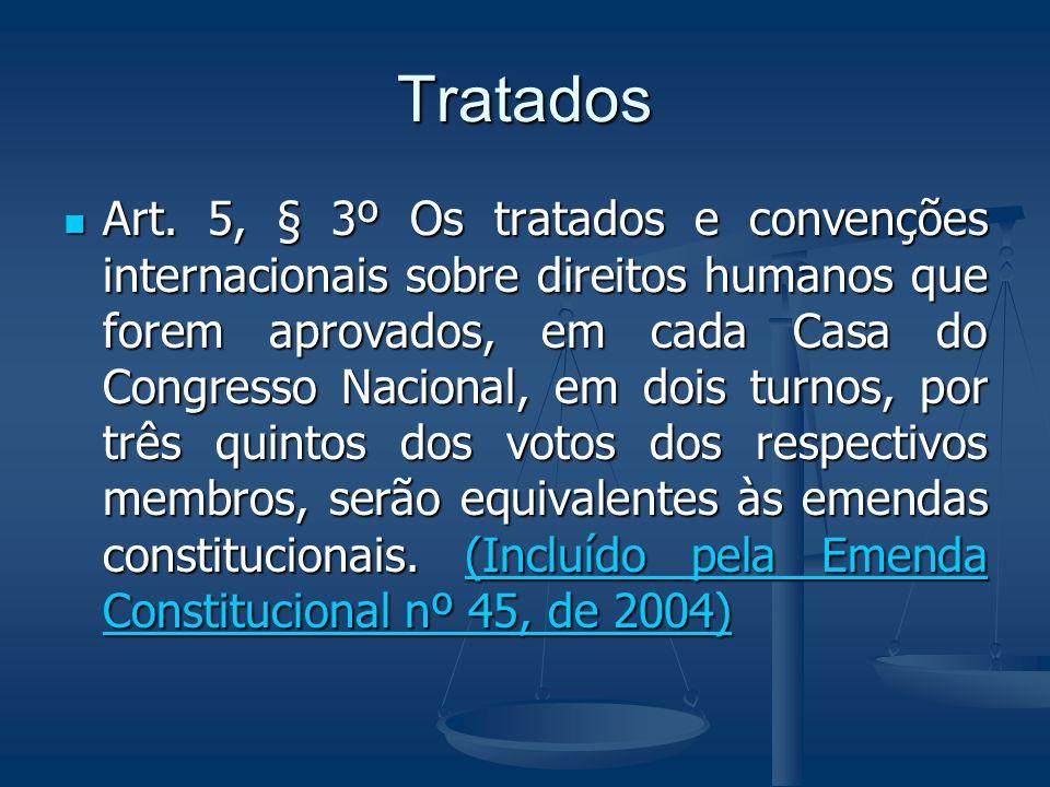Tratados Art. 5, § 3º Os tratados e convenções internacionais sobre direitos humanos que forem aprovados, em cada Casa do Congresso Nacional, em dois