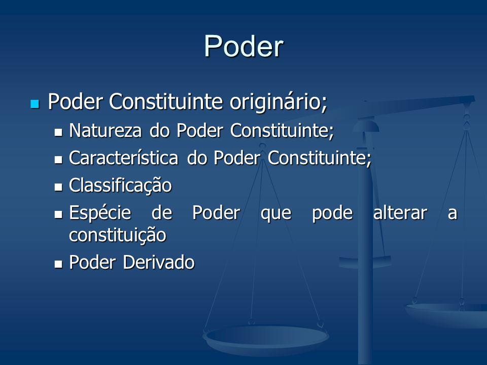 Poder Poder Constituinte originário; Natureza do Poder Constituinte; Característica do Poder Constituinte; Classificação Espécie de Poder que pode alt