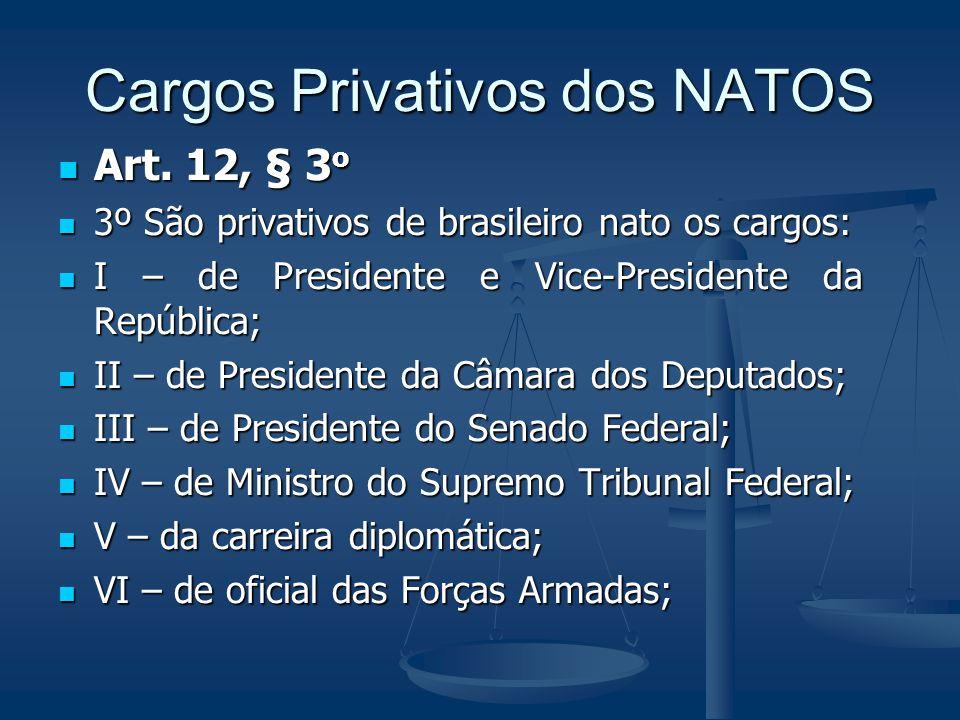 Cargos Privativos dos NATOS Art. 12, § 3 o Art. 12, § 3 o 3º São privativos de brasileiro nato os cargos: 3º São privativos de brasileiro nato os carg