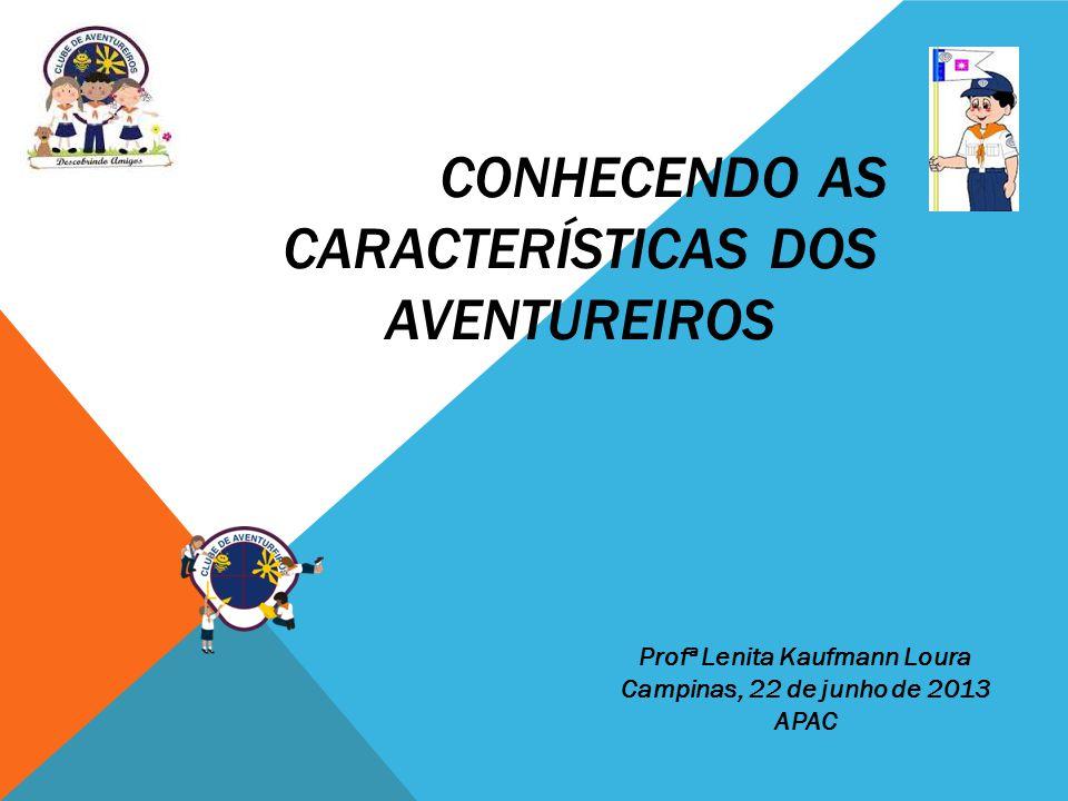 CONHECENDO AS CARACTERÍSTICAS DOS AVENTUREIROS Profª Lenita Kaufmann Loura Campinas, 22 de junho de 2013 APAC